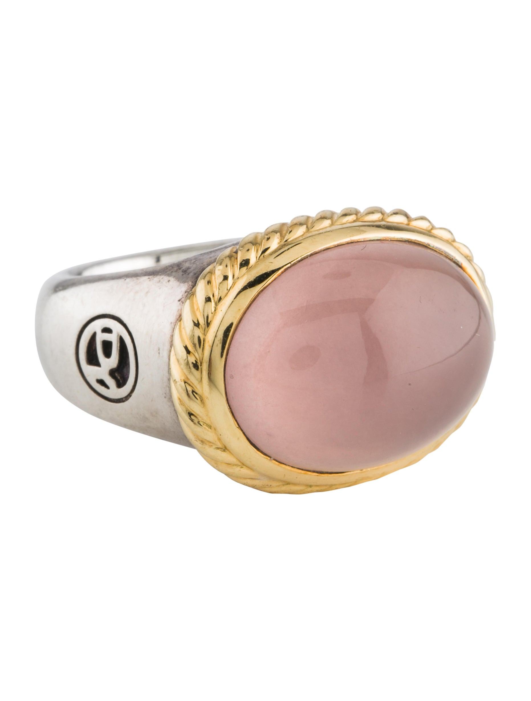David Yurman Two-Tone Rose Quartz Ring - Rings - DVY51212 | The RealReal
