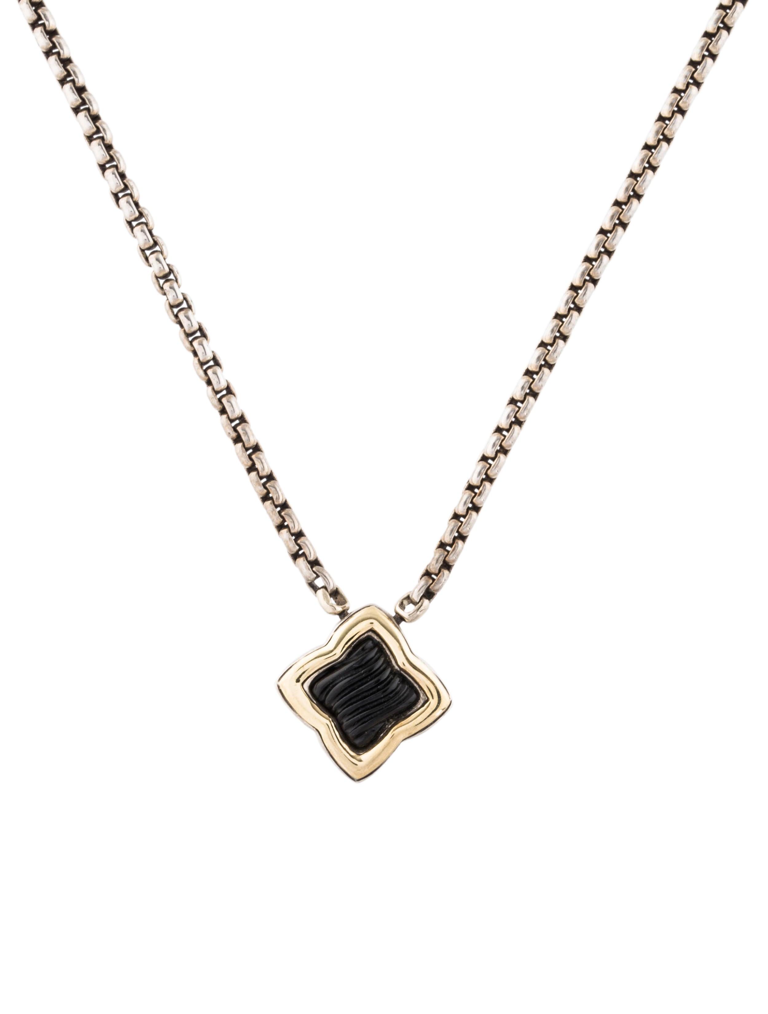 David yurman onyx quatrefoil pendant necklace necklaces dvy51728 onyx quatrefoil pendant necklace aloadofball Choice Image