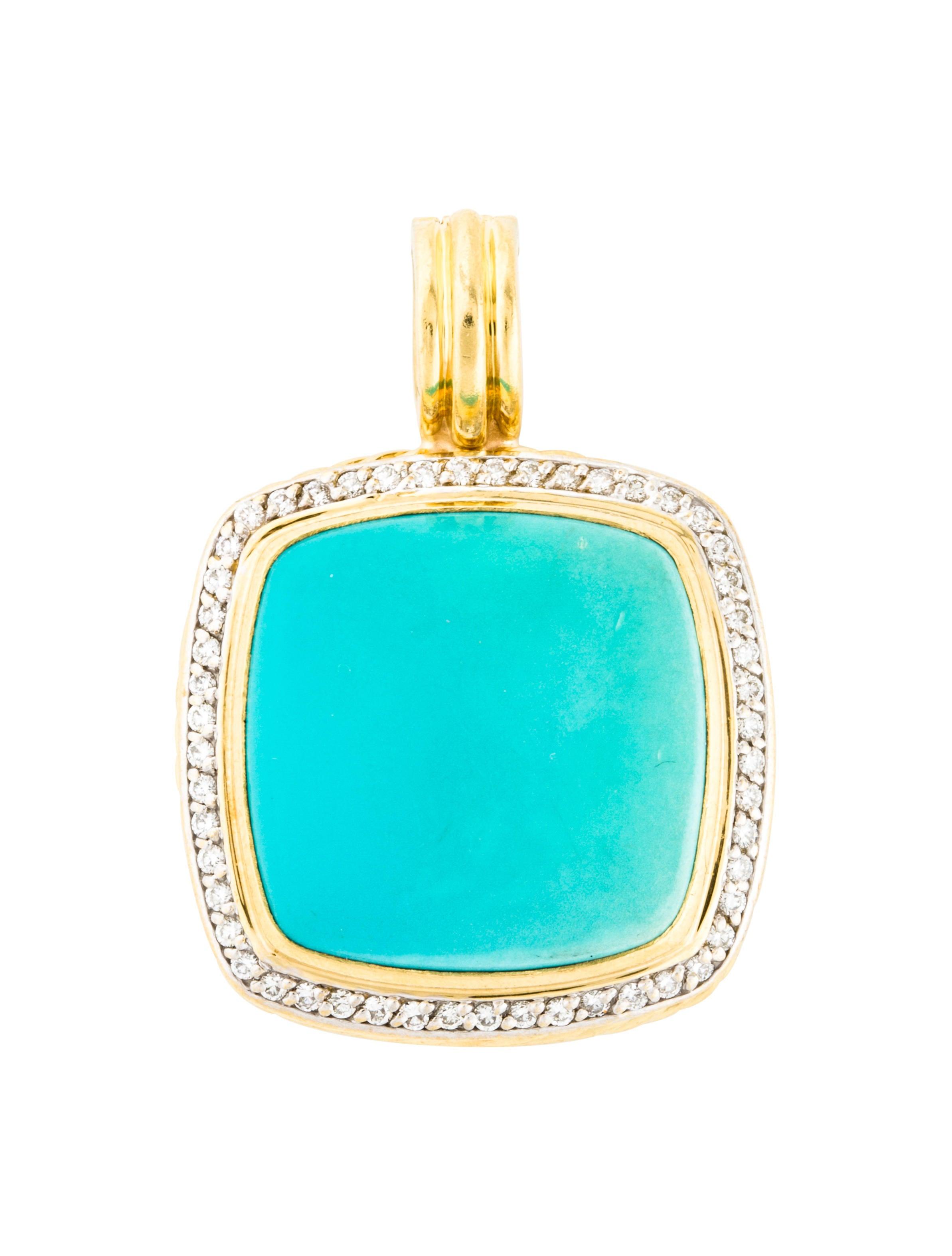 6b5be34dba6215 David Yurman 18K Composite Turquoise & Diamond Albion Pendant ...