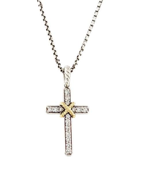 fd6544887bc0e4 David Yurman Two-Tone Diamond Cable Classics Cross Pendant Necklace ...