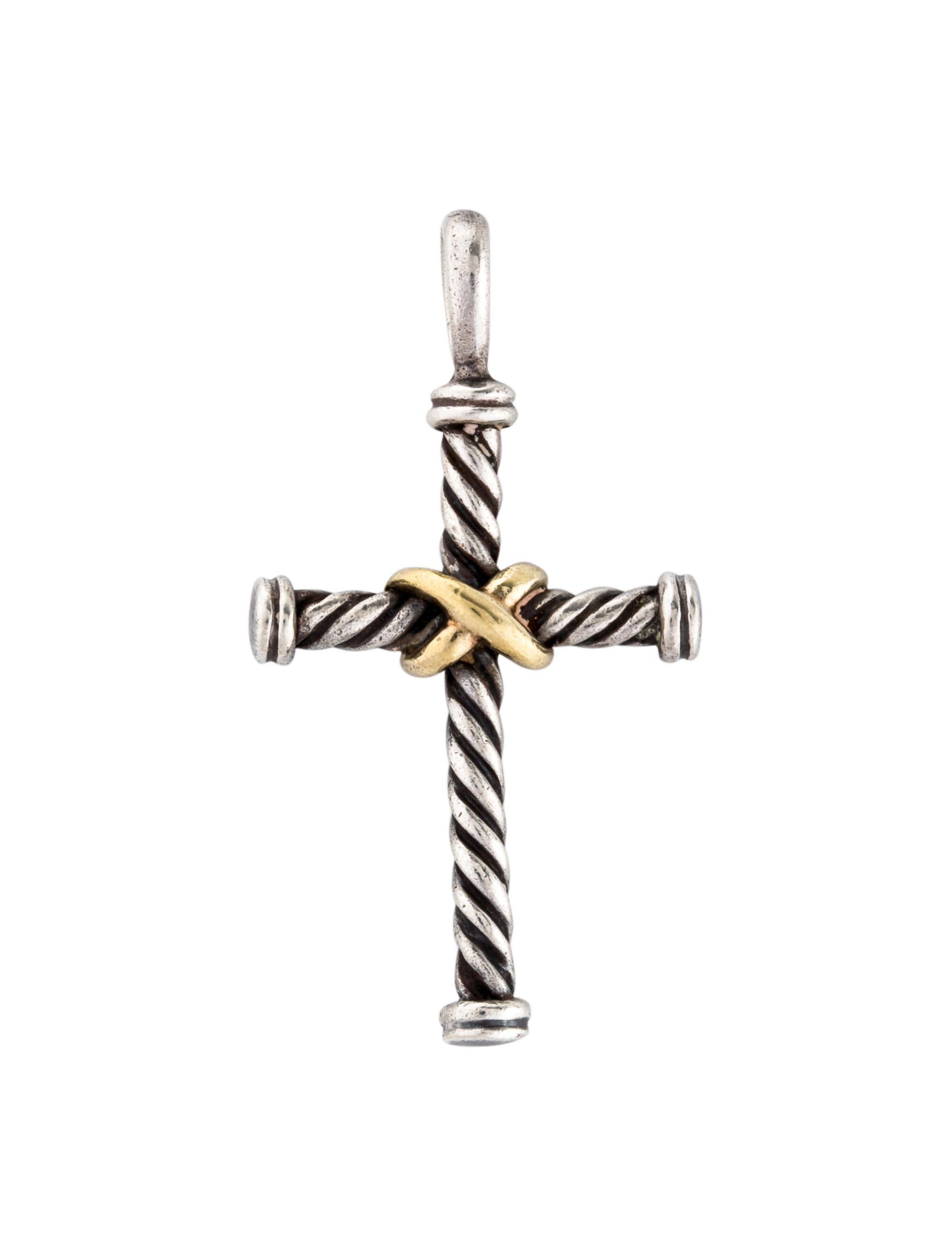 afea44d9ee9381 David Yurman Two-Tone Cable Classics Cross Pendant - Necklaces ...