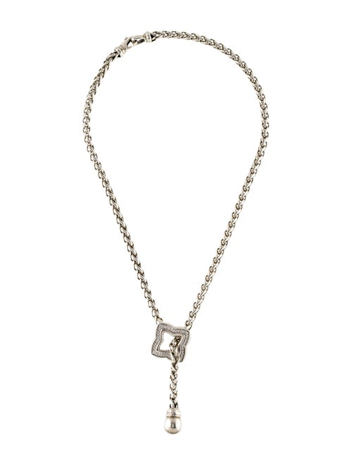 David Yurman Diamond Quatrefoil Lavalier Necklace