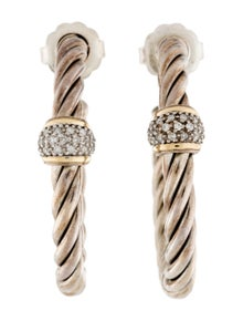 David Yurman Diamond Cable Classics Hoop Earrings
