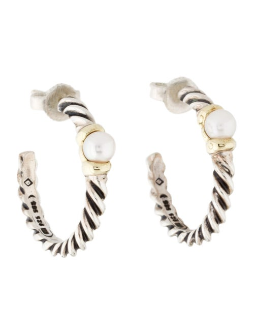 David Yurman Two-Tone Pearl Hoop Earrings Silver