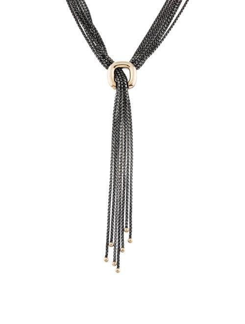 David Yurman Two-Tone Lavalier Necklace Silver