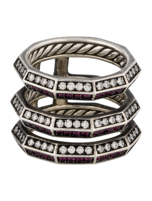 David Yurman Diamond & Ruby Stax Ring Silver