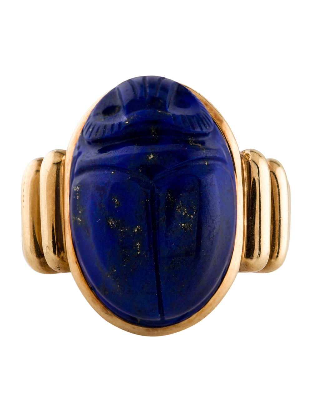 Scarab Swivel Ring Sterling Silver Gold Plated with Lapis Lazuli Cabochon