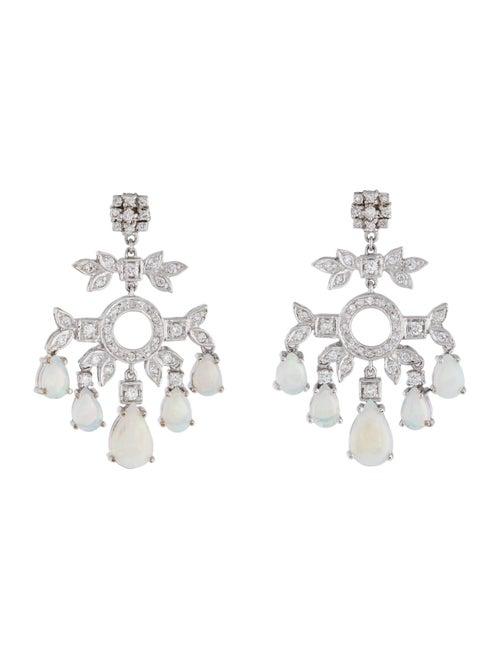 18K Opal & Diamond Chandelier Earrings white