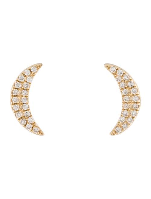 14K Diamond Moon Stud Earrings yellow