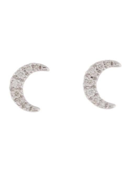 Earrings 14K Diamond Moon Stud Earrings White