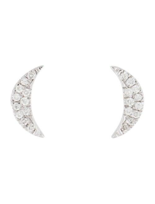 Earrings 14K Diamond Crescent Moon Stud Earrings W