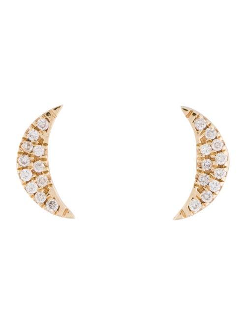Earrings 14K Diamond Moon Earrings yellow