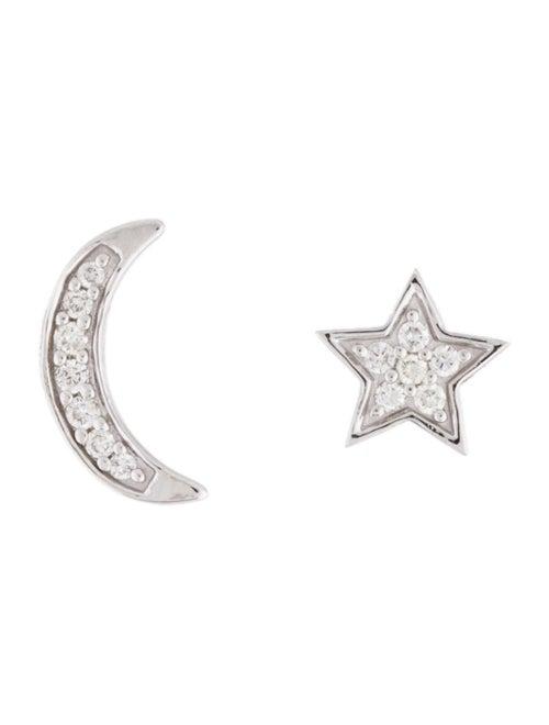Earrings 14K Diamond Moon & Star Stud Earrings Whi