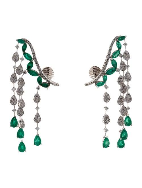 18K Diamond & Emerald Ear Climbers white