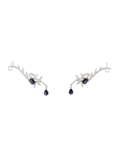 Earrings 18K Sapphire & Diamond Ear Climbers White