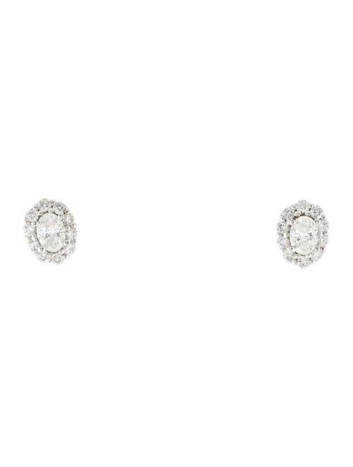 Earrings 14K Diamond Halo Stud Earrings White - image 1