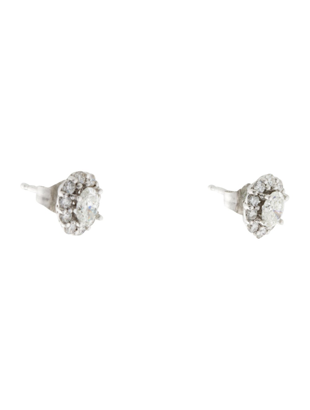 Earrings 14K Diamond Halo Stud Earrings White - image 3