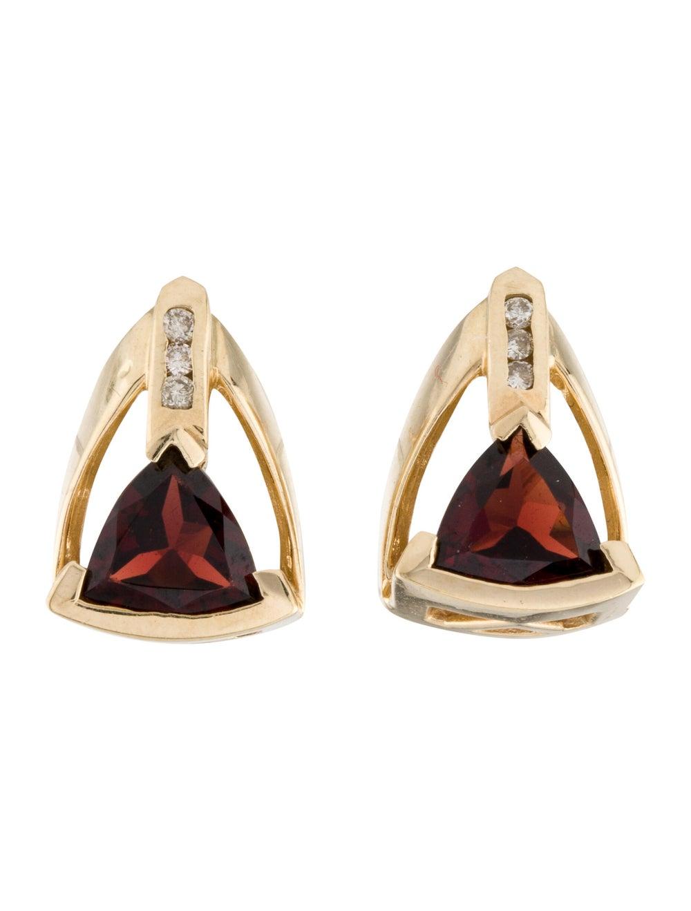 Earrings 14K Garnet & Diamond Stud Earrings Yellow - image 1