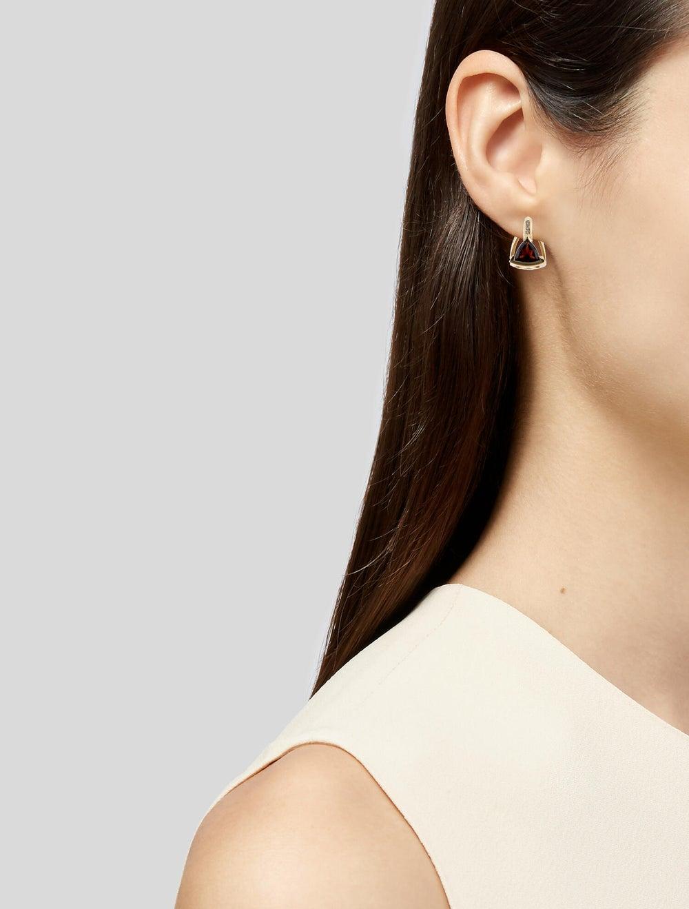 Earrings 14K Garnet & Diamond Stud Earrings Yellow - image 2