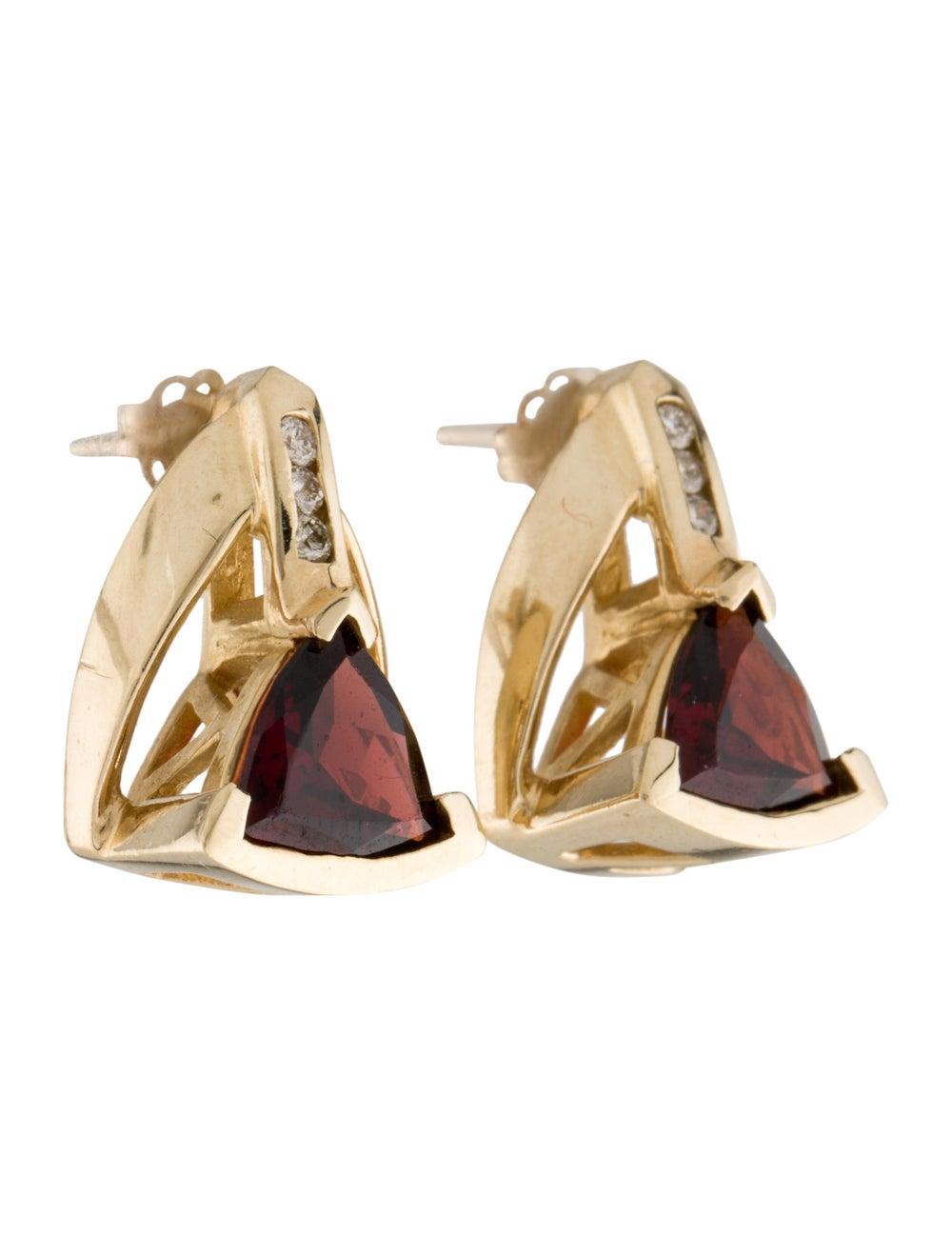 Earrings 14K Garnet & Diamond Stud Earrings Yellow - image 3