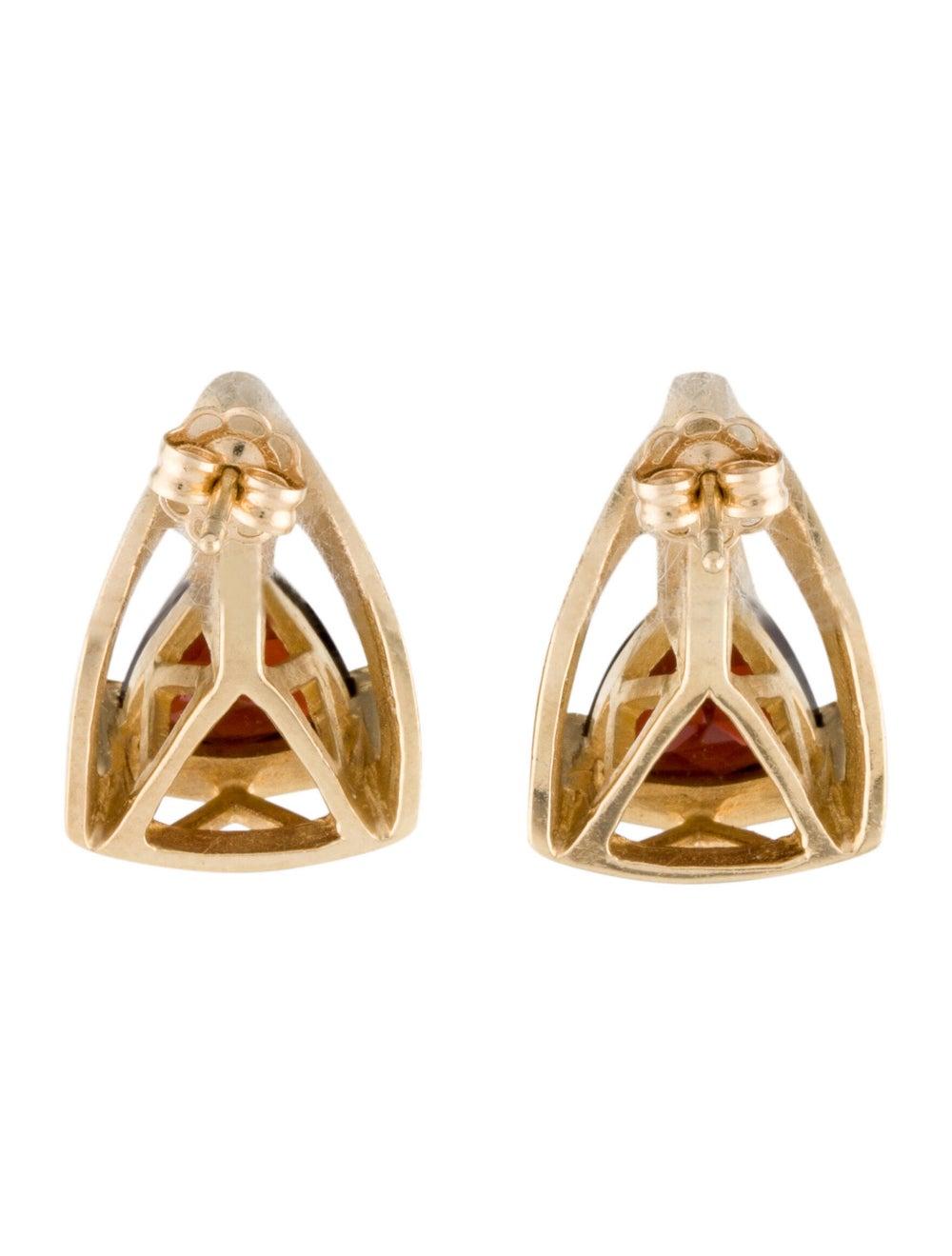 Earrings 14K Garnet & Diamond Stud Earrings Yellow - image 4