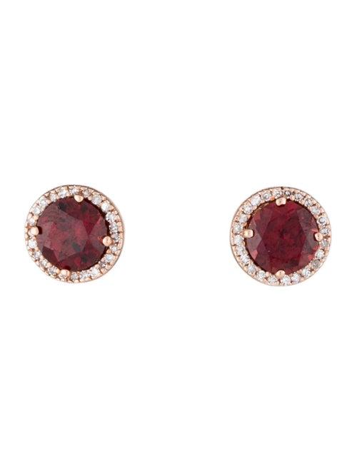 Earrings 14K Garnet and Diamond Stud Earrings Rose