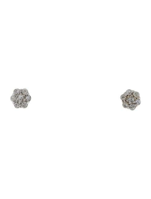 14K Diamond Cluster Stud Earrings White