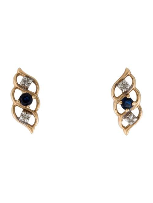 Earrings 14K Sapphire & Diamond Stud Earrings Yell