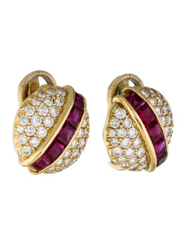 18K Ruby and Diamond Clip-On