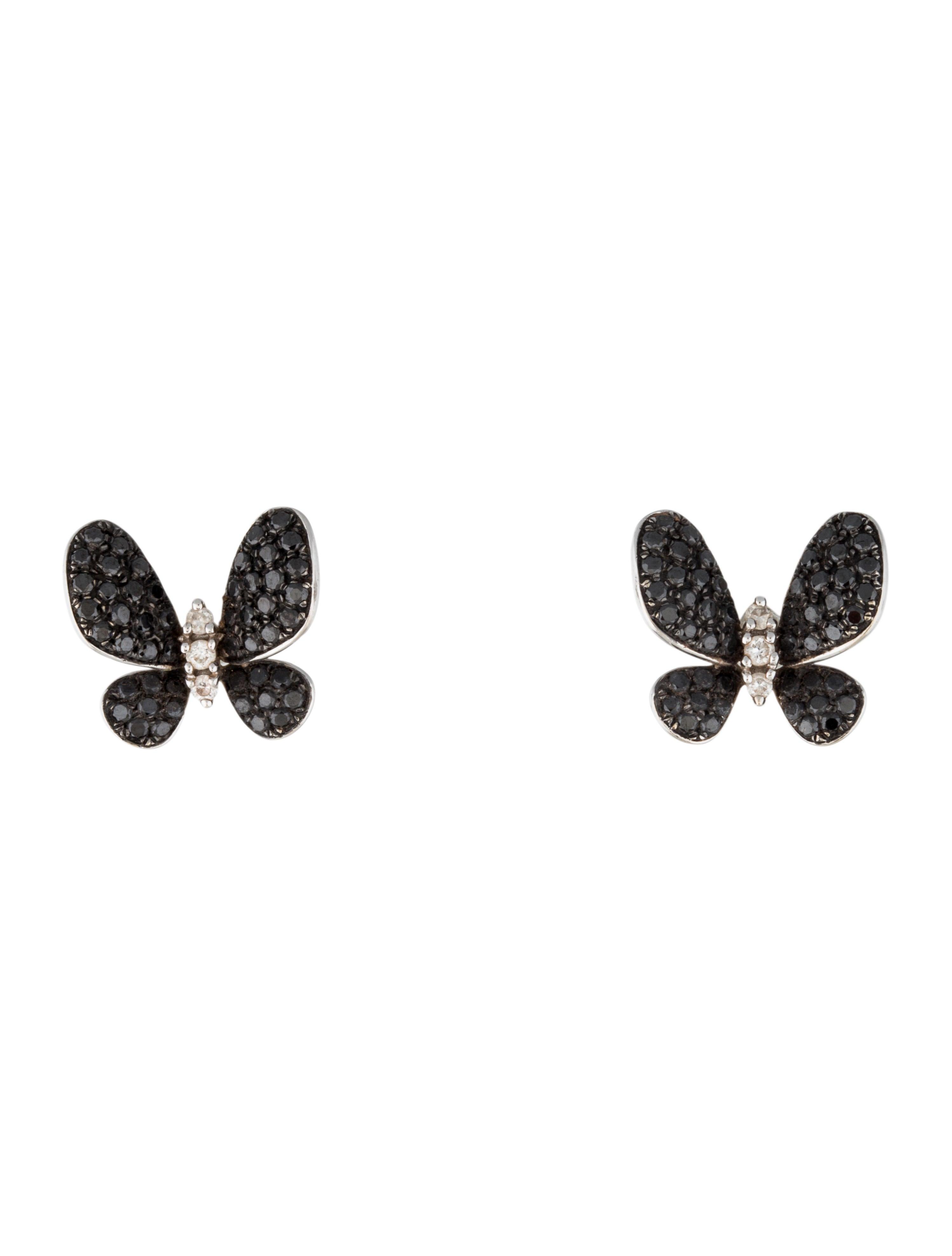 18k black and white diamond butterfly earrings earrings. Black Bedroom Furniture Sets. Home Design Ideas