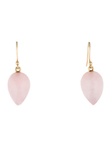 14K Rose Quartz Drop