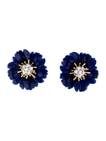 Lapis and Diamond Flower Earclips