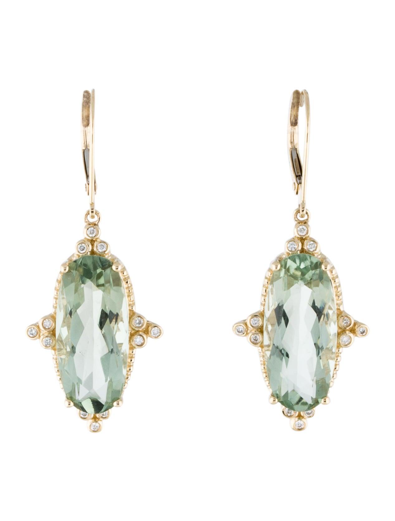 14k prasiolite drop earrings earrings