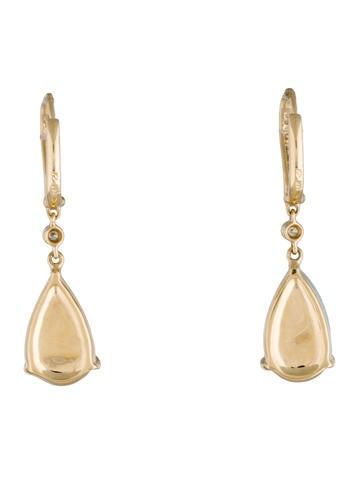 14K Opal and Diamond Drop Earrings