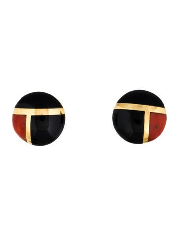 18K Coral and Onyx Inlaid Button