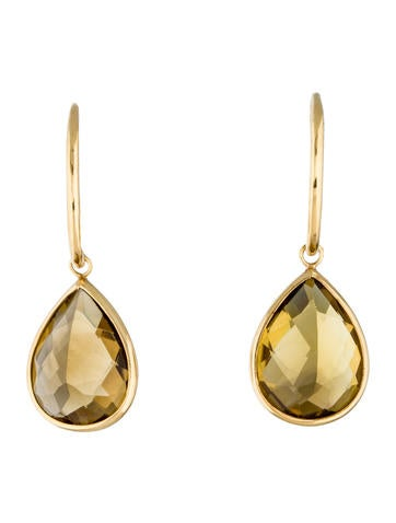 18K Citrine Teardrop Earrings