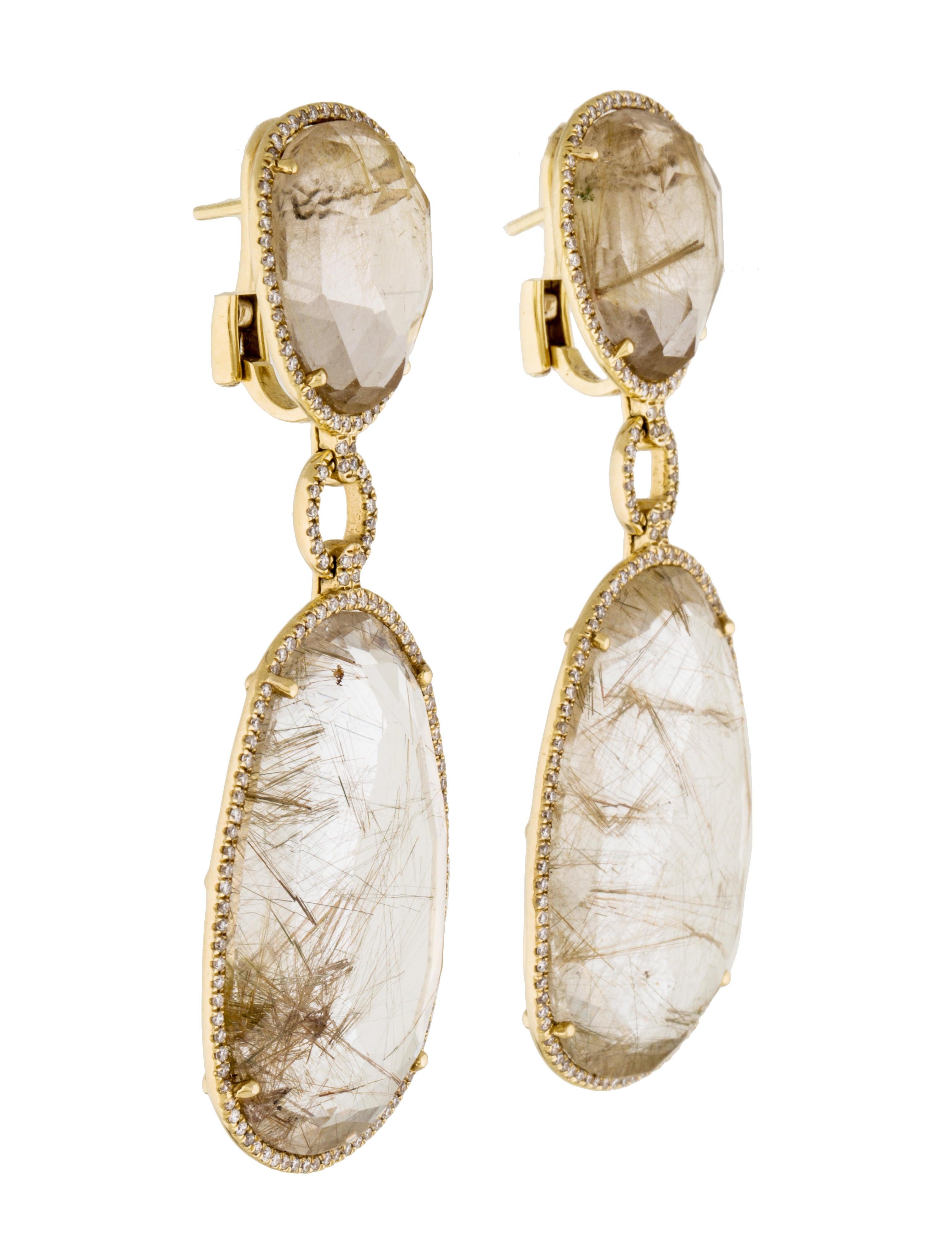 Rutilated Quartz Amp Diamond Drop Earrings Earrings
