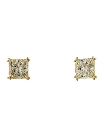 Princess Cut Diamond Studs None