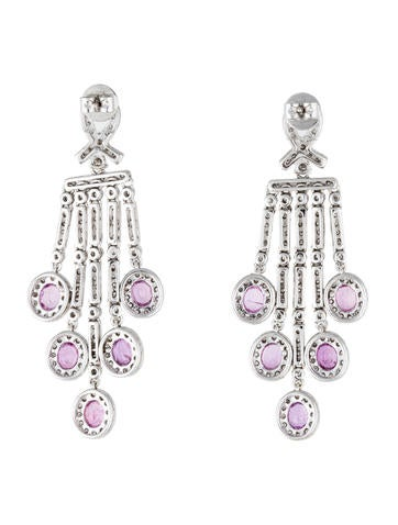 Earrings Platinum Pink Sapphire And Diamond Chandelier Earrings