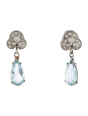 Platinum Diamond & Aquamarine Drop