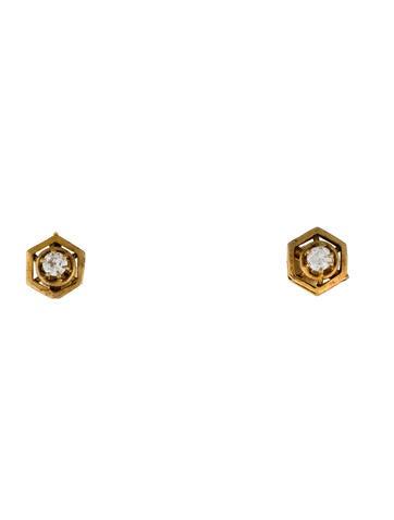 14K Hexagonal Diamond Stud Earrings