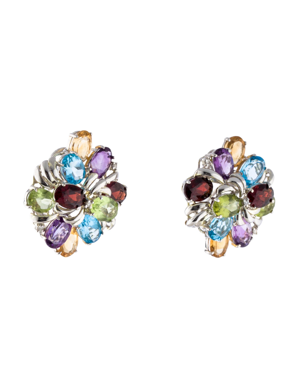 Multi Stone Ear Clip Earrings Earrings Earri26678