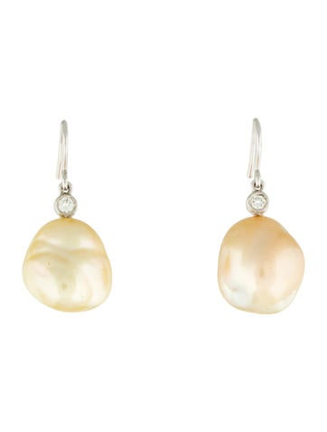 18K Yellow Pearl & Diamond Drop Earrings