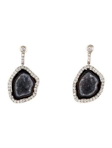 14K Druzy & Diamond Drop Earrings
