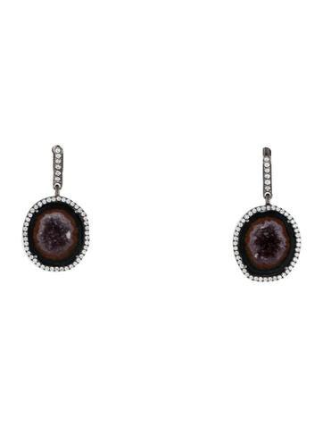 Druzy & Diamond Drop Earrings None
