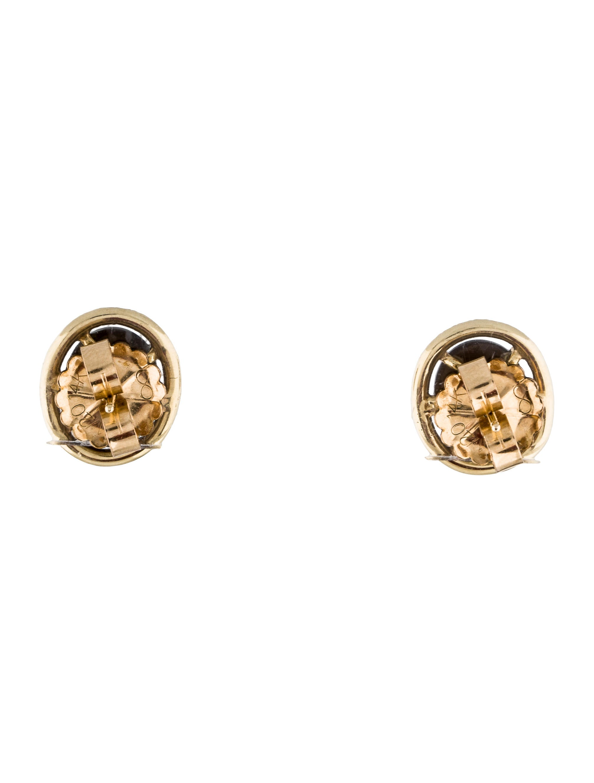 14k black star sapphire diamond stud earrings earrings. Black Bedroom Furniture Sets. Home Design Ideas