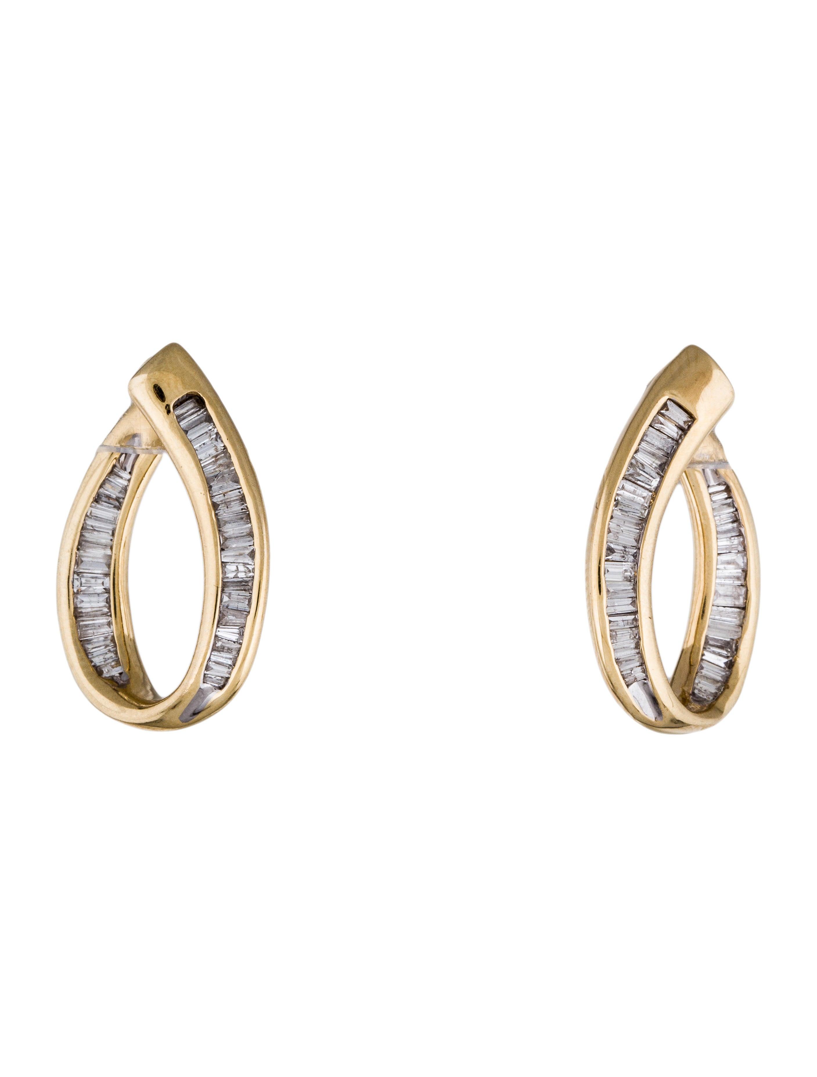 14k baguette diamond hoop earrings earrings earri28614. Black Bedroom Furniture Sets. Home Design Ideas