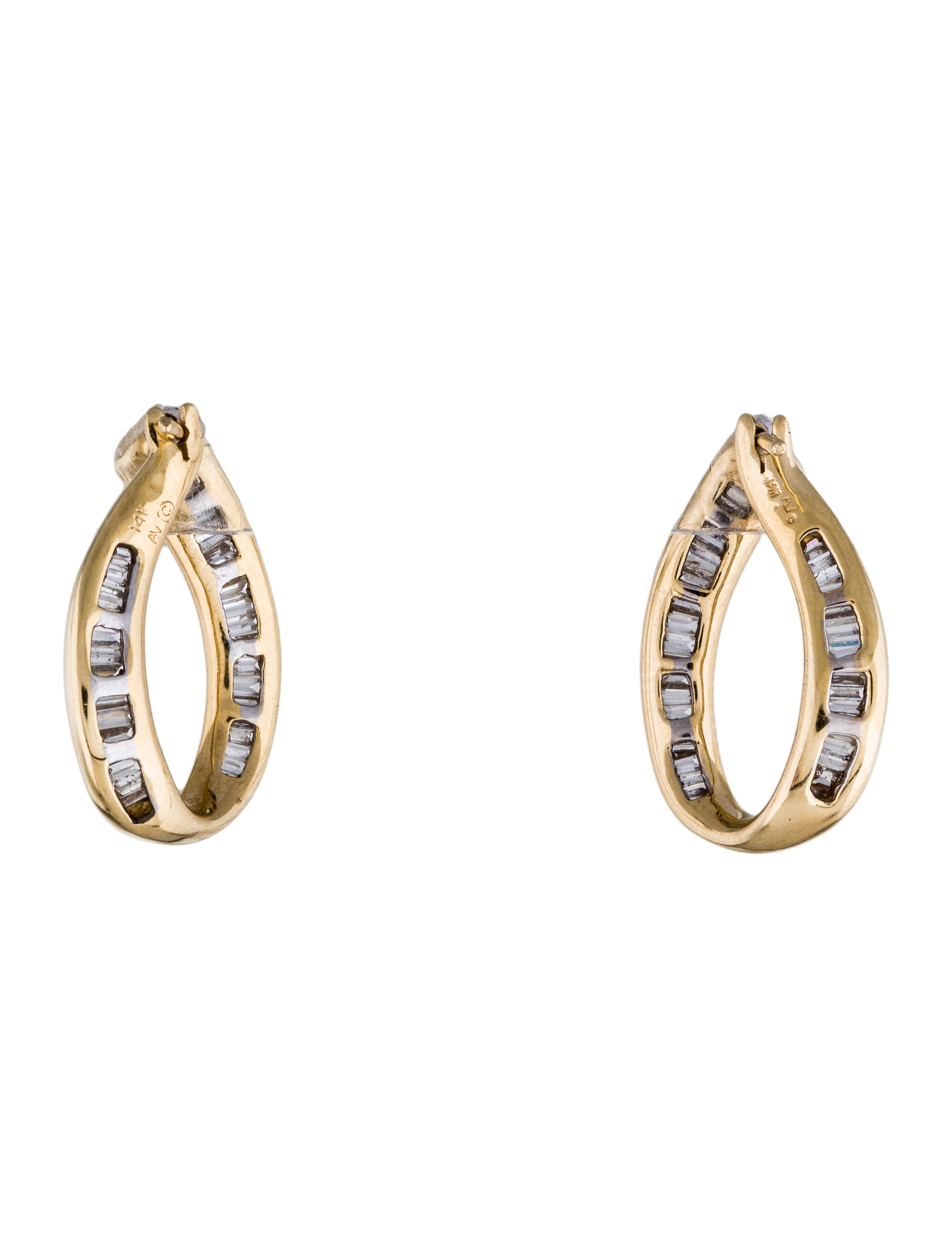 baguette diamonds earrings 14k baguette hoop earrings earrings earri28614 4002