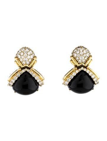 18K Onyx & Diamond Earrings