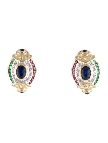 14K Sapphire, Emerald & Diamond Ear Clips
